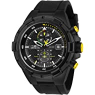 Men's Aviator Stainless Steel Quartz Silicone Strap, Black, 26 Casual Watch (Model: 28103)