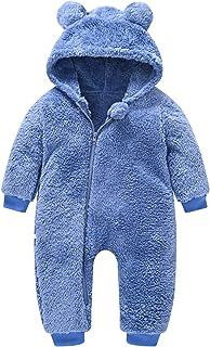 طفل الفتيات الصبي الدب snowsuit مقنعين رومبير الوليد الصوف بذلة وزرة الشتاء الملابس (Color : Blue, Size : 12-18 Months)