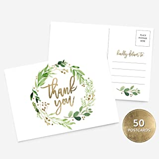 50 4x6 Botanical and Gold Thank You Postcards Bulk Set, Floral Wreath Calligraphy Note Card Stationery Set, Blank Thank You Note Card Wedding, Bridesmaid, Bridal or Baby Shower, Teachers, Business