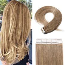 SEGO 20 Pieces Rooted Tape in Hair Extensions Human Hair Seamless Skin Weft 100% Real Remy Invisible Tape Hair Extensions Straight Double Sided 20 inches #27 Dark Blonde 30g