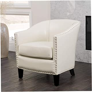 Wood & Style Home Carlton Leather Club Chair in Ivory, Office Décor Studio Living Heavy Duty Commercial Bar Café Restaurant