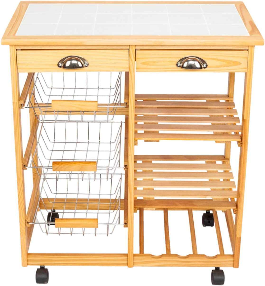 Price reduction Kitchen Dining Room Cart 2-Drawer Storage Max 65% OFF Removable Rack with