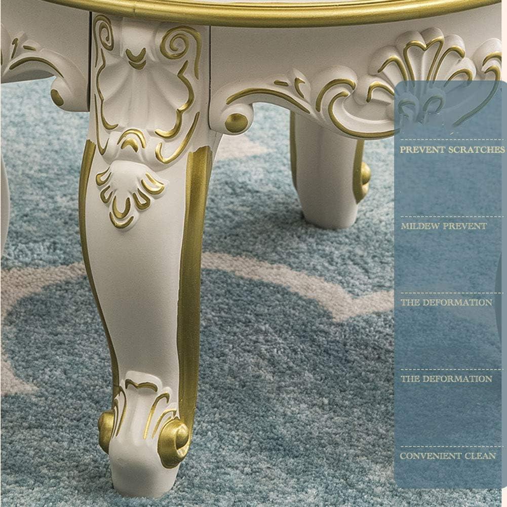 POETRY Tabouret Ottoman rembourré Repose-Pieds Rond Broderie Tabouret avec Pieds sculptés Peints décor européen canapé Table Basse Tabouret-A B