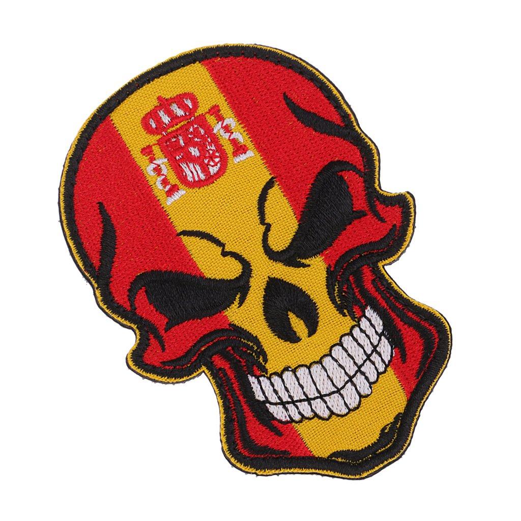MagiDeal Parche Decorativo con Diseño de Bandera de Cráneo Costura Insignia de Poliéster - Bandera de España: Amazon.es: Hogar