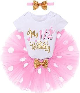 FYMNSI Baby Mädchen 1/2. / 1. Geburtstag Outfit Baumwolle Kurzarm Strampler  Gepunktet Tütü Rock  Ohr Stirnband 3tlg Bekleidungsset Fotoshooting Kostüm