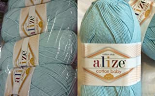 50% Cotton 50% Acrylic Soft Yarn for Baby Blanket Alize Cotton Baby Soft Crochet Lace Embroidery Art Craft Sewing Kit Hand Knitting Yarn Lot of 4skn 400gr 1180yds Color Light Turquoise 335