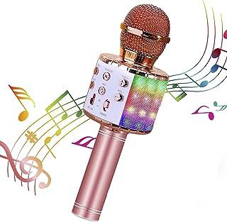 Micrófono Karaoke Bluetooth, Microfono Inalámbrico Karaoke Portátil con Función Selfie para Niños Canta Partido Musica, Co...