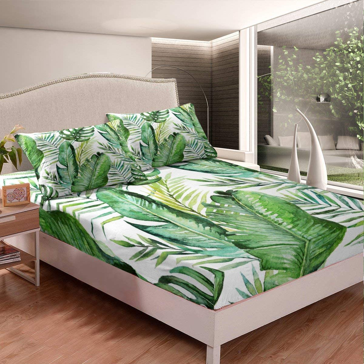 Blue White Room Dorm Decorative Erosebridal Ocean Beach Fitted Sheet Twin Size Palm Trees Bed Sheet Set Coastal Nature Theme Bed Cover for Kids Boys Girls Teens Hawaiian Bedding Set
