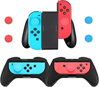 Comfort Grips Compatible with Nintendo Switch Joy-Con Controller (3-Pack), Handle Grips Kit for Joy Con with 4 Thumb Grip Caps