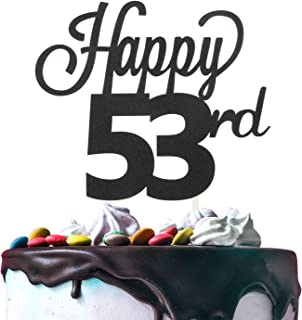 Happy 53rd Birthday Black Glitter Cardstock Paper Cake Topper Cheers to 53 Years Old Bday Party Gift Photo Booth Sign Decoration - Premium Double Sided