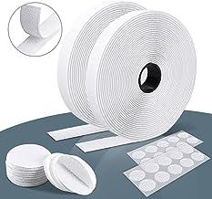 Klittenband Zelfklevend Wit Extra Sterk 8 m Lang 20 mm Breed, Ronde Dubbelzijdig Klittenband Tape Diameter 50 mm en 20 mm...