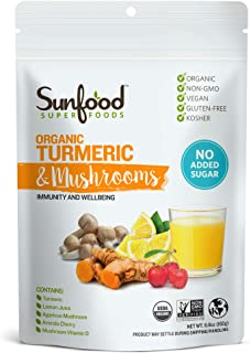 Sunfood Superfoods Turmeric & Mushrooms | All-Natural, Plant-Based Powdered Drink Mix | Immunity & Wellbeing | Organic, No...