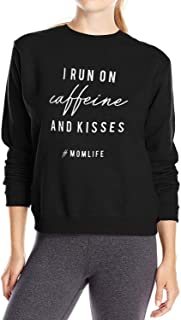 Women I Run ON Caffeine and Kisses Blouse Long Sleeve Casual Sweatshirt Tops