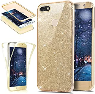 Huawei P9 Lite Mini Case,[Full-Body 360 Coverage Protective] Crystal Clear Sparkly Shiny Glitter Bling Front Back Full Coverage Soft Clear TPU Silicone Rubber Case for Huawei P9 Lite Mini,Gold