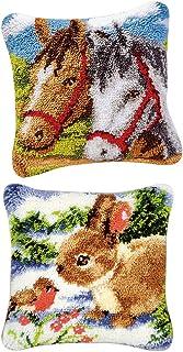 D DOLITY 2 Sets Rabbit Horse Embroidery Pillowcase Latch Hook Rug Pillow Cushion Kits
