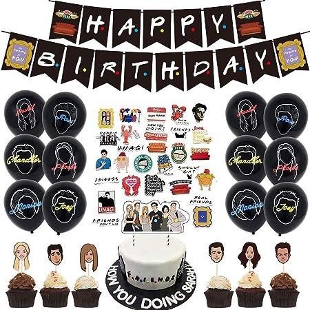 Bleu Joyeux Anniversaire banni/ère confettis Ballon Star D/écor Fille gar/çon Homme Joyeux Anniversaire D/écorations Cake Topper