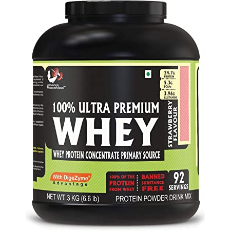 Advance MuscleMass Whey Protein Concentrate With Enzyme Blend| 24.7 g protein | Lab tested | Raw Whey from USA | Strawberry Flavour | 3 Kg (6.6 lb)