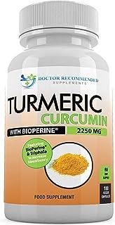 Turmeric Curcumin - 2250mg/d - 180 Veggie Caps - 95% Curcuminoids with Black Pepper Extract (Bioperine) - 750mg Capsules -...