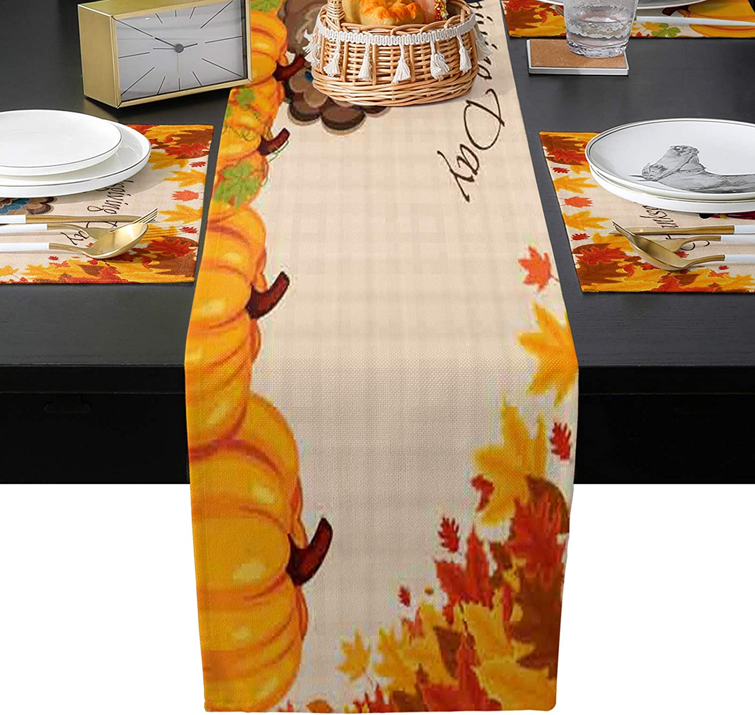 BABE Cheap sale MAPS Thanksgiving Day Table Set Placemats All items in the store Runner Washable