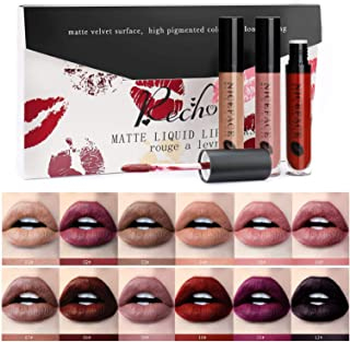 Rechoo Beauty Makeup Lip Gloss Velvet Matte Waterproof Cosmetic Long Lasting Not Fade Lipsticks (12 Pcs-B)