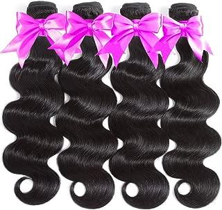 Flady Brazilian Virgin Hair Body Wave 10A Brazilian Hair Weaves 4 Bundles Virgin Human Hair Weaving Natural Black Color 95-100g/bundle (14 16 18 20inch)