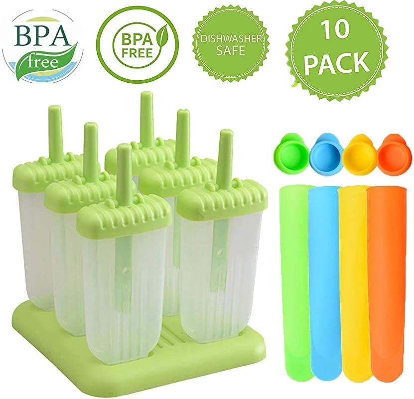6 Pcs Ice Pop Mould Set Amadear DIY Frozen Ice Cream Pop Molds Ice Lolly Makers With Base Green