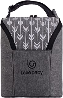 Lekebaby Insulated Baby Bottle Tote Bags for Travel Double Baby Bottle Warmer or Cool, Arrow Grey