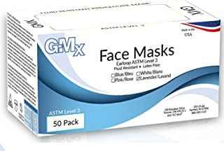 GMX Earloop ATSM 3 Face Masks Fluid Resistant, Latex Free Lavender Bx/50