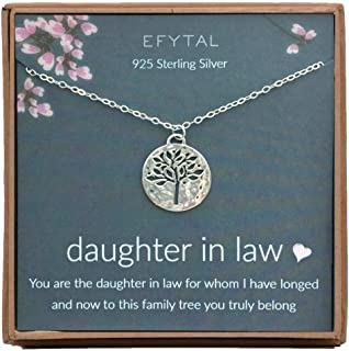 EFYTAL Daughter in Law Gifts, Sterling Silver Tree of Life Necklace, Wedding Jewelry Gift from Mother in Law