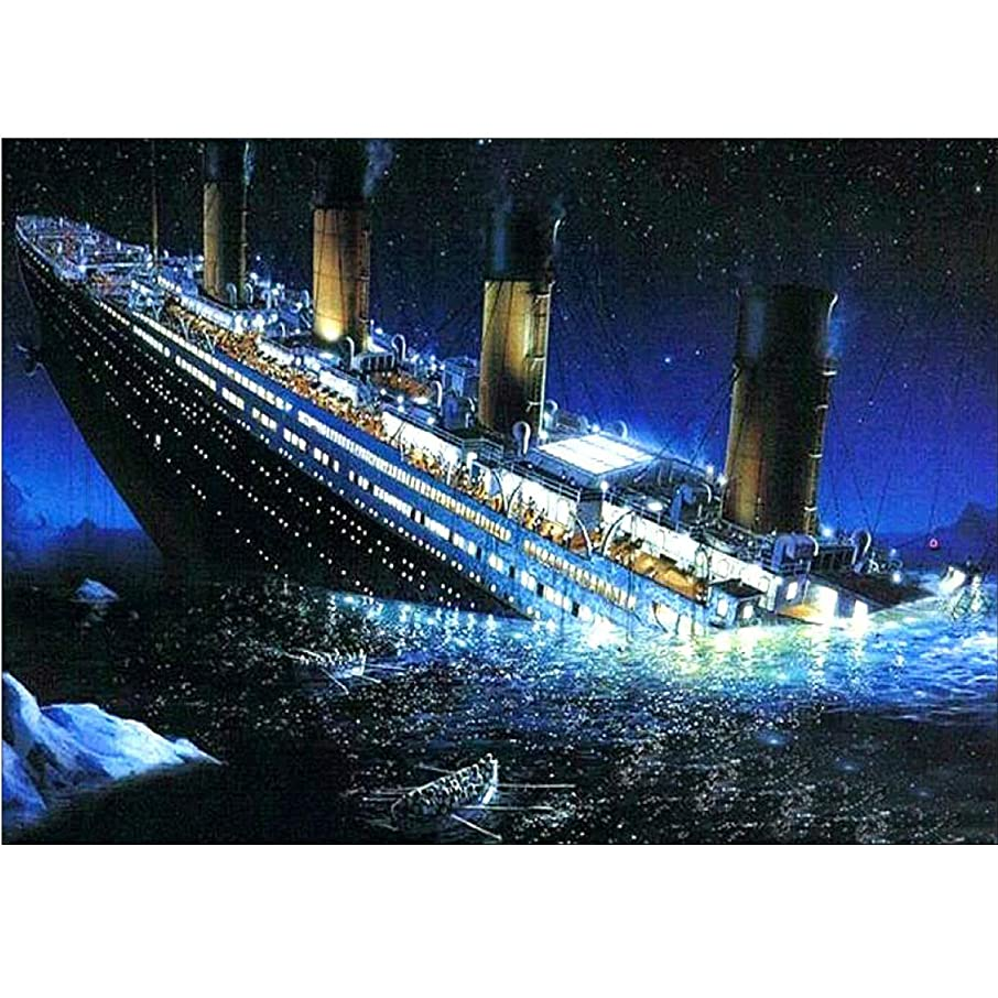 DIY 5D Diamond Painting by Number Kit, Full Drill Titanic Rhinestone Embroidery Cross Stitch Picture Art Craft Home Wall Decor 11.8x15.8 inch