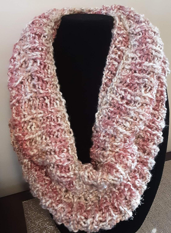 Handmade Parfait Infinity Cowl shipfree Pink White Overseas parallel import regular item Mauve Scarf