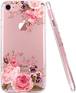 JAHOLAN iPhone 6 Case, iPhone 6S case Girl Floral Clear TPU Soft Slim Flexible Silicone Cover Phone case for iPhone 6 iPhone 6S - Rose Flower
