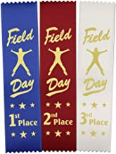 Field Day Award Ribbons: 300 Count Value Bundle 100 Each - Blue 1st Place, Red 2nd Place, White 3rd Place – Made in The USA