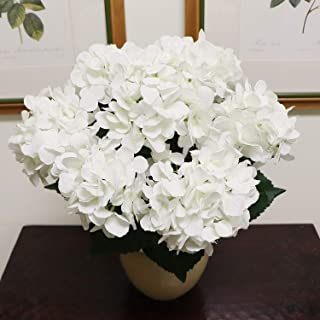Hydrangea Silk Flowers Plant, White, Indoor Home Decoration, Outdoor Plant, Wedding, Centerpieces, Bouquets, Artificial Hydrangeas Bush with 7 Large Gorgeous Bloom Clusters, Leaves, Stems