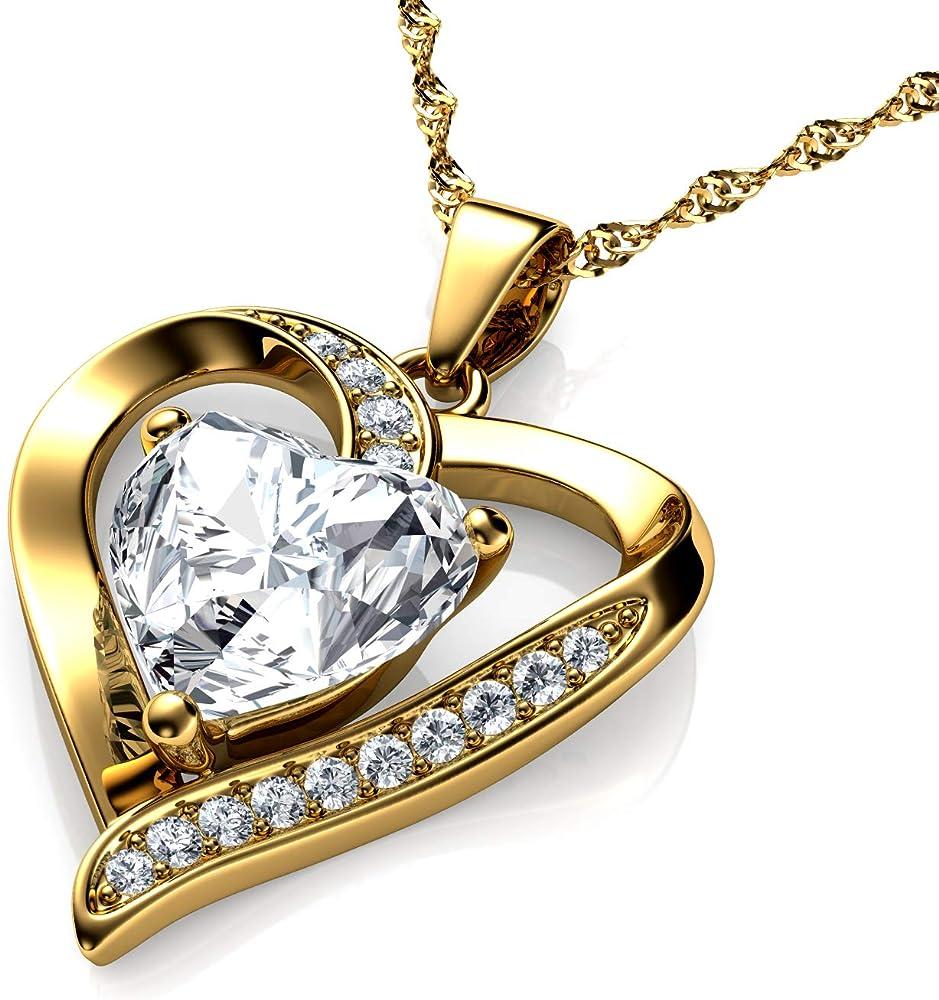 Dephini collana da donna in oro 18 carati, ciondolo a forma di cuore giallo,  con cristalli di zirconia cubica DEPHINI