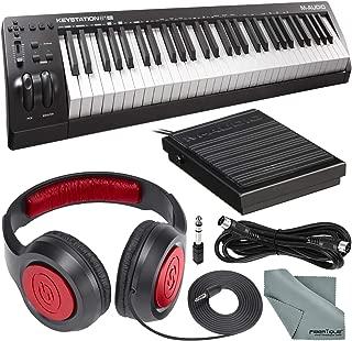 M-Audio Keystation 61 II MIDI Keyboard Controller and Deluxe Bundle w/Keyboard Sustain Pedal, Headphones, MIDI Cable, Fibertique Cloth