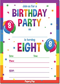 Papery Pop 8th Birthday Party Invitations With Envelopes 15 Count
