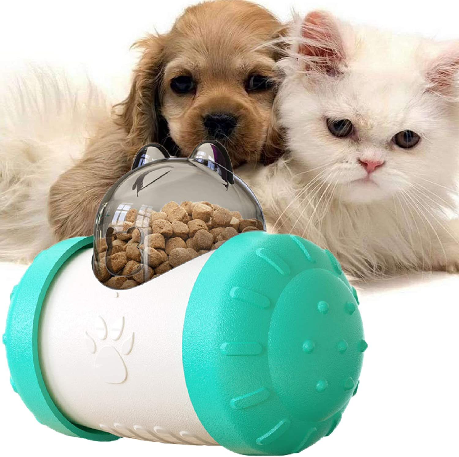Rolling Tumbler Dog Iq Toys Dog Food Ball Dispenser, Interactive Dog Toys Dog Puzzles for Smart Dogs, Dog Treat Ball Dispenser Dog Feeder Toy Busy Toys for Dogs Or Cat, Dog Slow Feeder Bowl - Blue