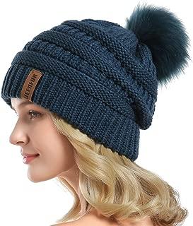 Women Knit Slouchy Beanie Chunky Baggy Hat with Faux Fur Pompom Winter Soft Warm Ski Cap