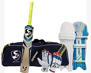 SG Batting Cricket Kit Combo (Superpak Kitbag + Nexus Plus Kashmir Willow bat,Men Size + Optipro Legguard + Club Batting Gloves)