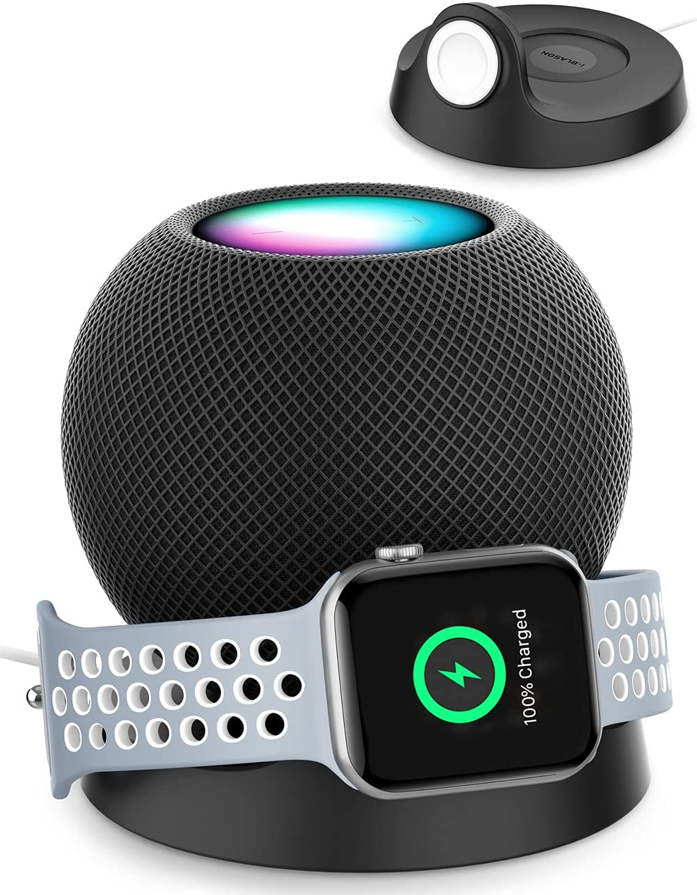i-Blason Cosmo Series Table Holder Stand, Anti Slip Anti Scratch Stand Compatible with Apple Watch & HomePod Mini Built in Cord Organizer (Black)