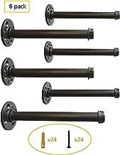 Industrial Black Iron Pipe Shelf Brackets –12 Inch Set of 6,Heavy Duty Rustic Floating Shelf Bracket,Coated Finish,Hardware Included
