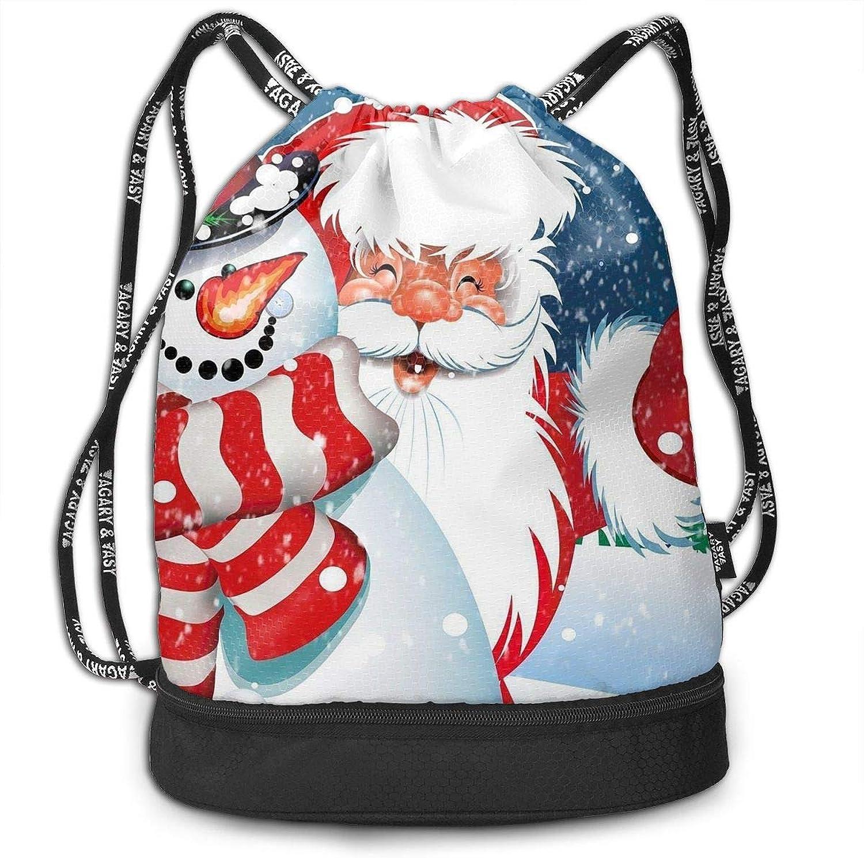 Gymsack Snowman Santa and Kid Christmas Print Drawstring Bags  Simple Bundle Pocket Backpack