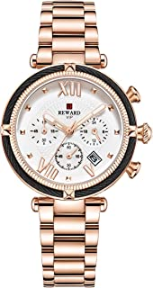 Women Stainless Steel Chronograph Watch Multifunction Luminous Analog Quartz Watches with Date Display Waterproof Wrist Watches Ladies Classic Casual Rose Gold Dress Watch