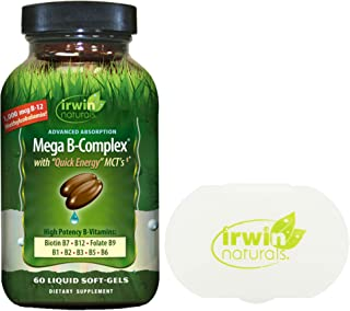 Irwin Naturals Mega B-Complex Vitamin B with Quick Energy MCT's (60 Softgels) Bundle with a Pill Case