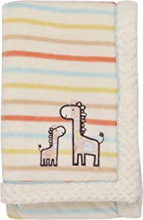 Little Me Giraffe Embroidered Applique Baby Blanket with Woven Piping