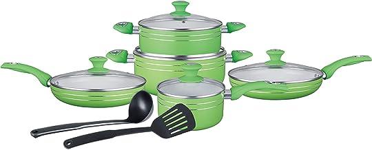 طقم اواني طبخ سيراميك مانع للالتصاق مكون من 12 قطعة، لون اخضر، Fal12G