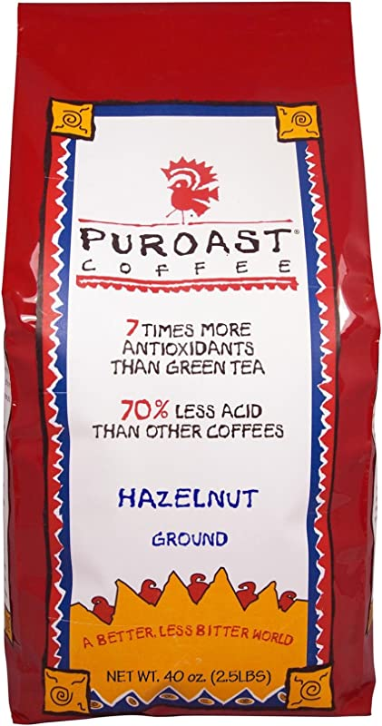 Puroast Low Acid Coffee Hazelnut Flavored Coffee Drip Grind 2 5 Pound Bag