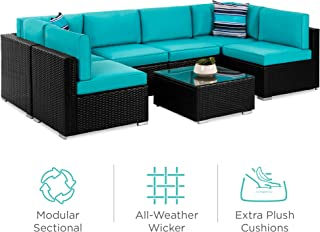 Best Choice Products 7-Piece Modular Outdoor Conversational Furniture Set, Wicker Sectional Sofas w/Cover - Black/Teal