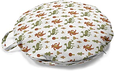 Lunarable Moose Round Floor Cushion with Handle, Nursery Pattern Image of Bears Adult Elks and Birds with Trees, Decorative P
